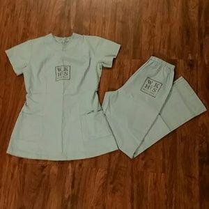 Pants - Scrub set, sea green, small top, pants 30x32